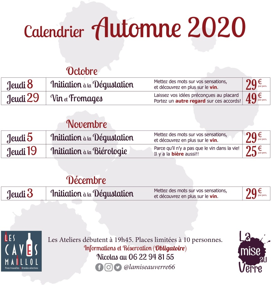 Programme Automne Caves Maillol 2020